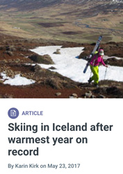 Skiing in Iceland after warmest year